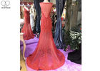Long Tail Elegant Red Evening Gowns Beading Sleeveless Deep V Transparent Back