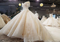 Champagne Off Shoulder Wedding Gown , Big Ball Gown Dresses Beaded Tassels