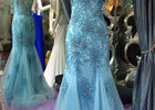 Blue Mermaid Style Prom Dress , High Collar Evening Gown Open Back Tulle Bottom