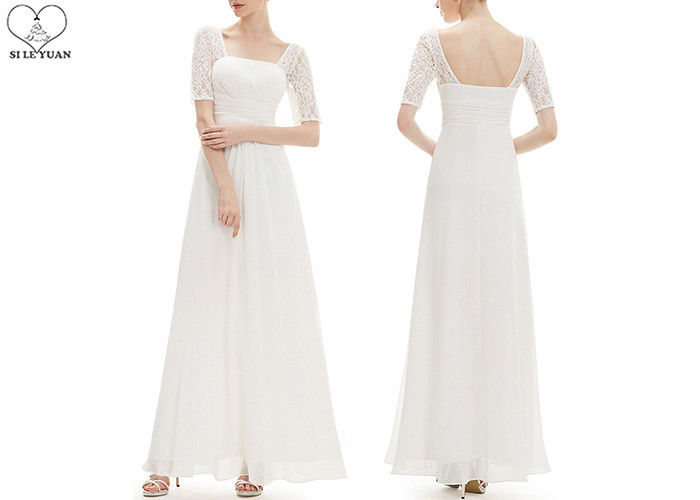 Square Collar Wedding Bridesmaid Dresses , White Chiffon Floor Length Ball Gowns