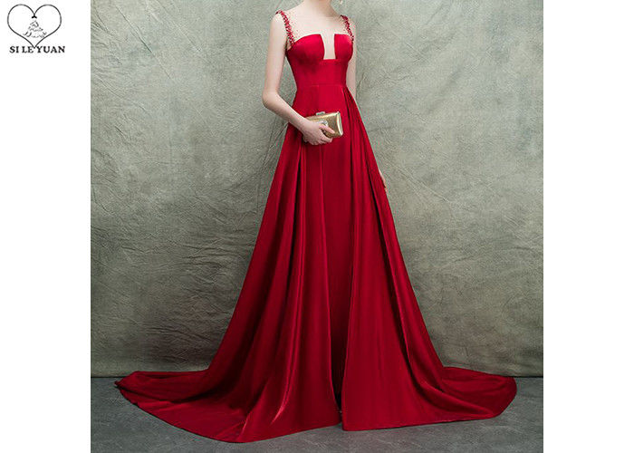Backless Red Ball Gown Prom Dress Stretch Satin Bust Cut Out Shoulder High Slit