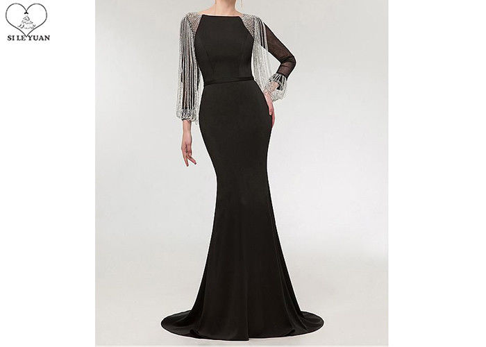 Stretch Fabric Black Long Sleeve Mermaid Prom Dress Tassels Sleeves Sweep Train