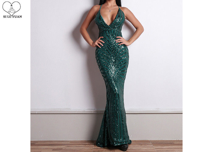 Sexy Sling Dark Green Mermaid Prom Dresses Backless Deep V Neck Sequins Fabric